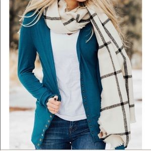 Sweaters - Knit sweater button front cardigan teal color